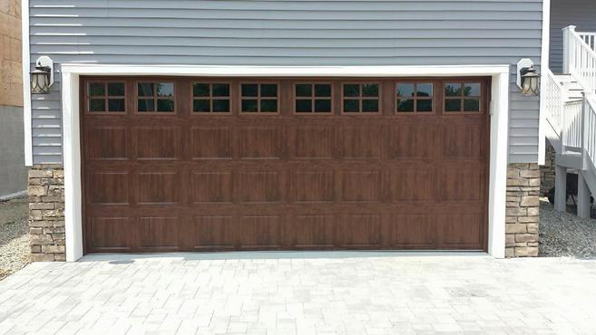 Steel Raised Panel Garage Door, Short Panel, Stockton Windows, In Walnut  Wood Grain