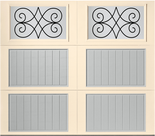 Two tone carriage house style garage door