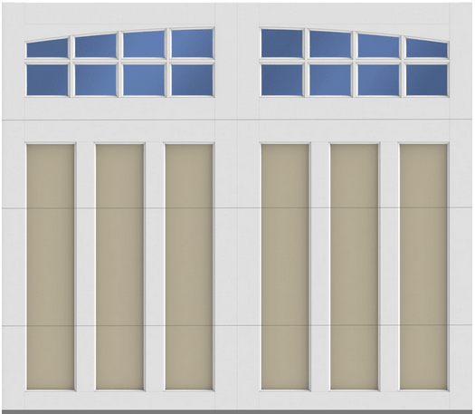 Two tone overlay carriage house style garage door